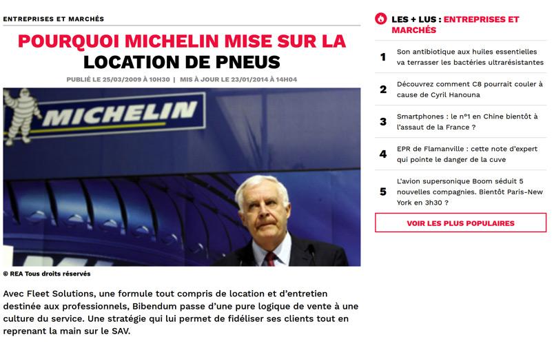 Michelin mise sur la location de pneus